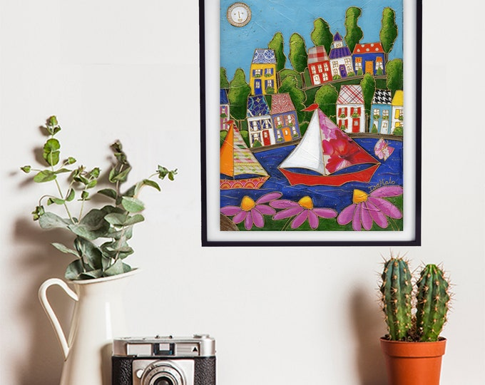 Poster art print colourful houses sailboat