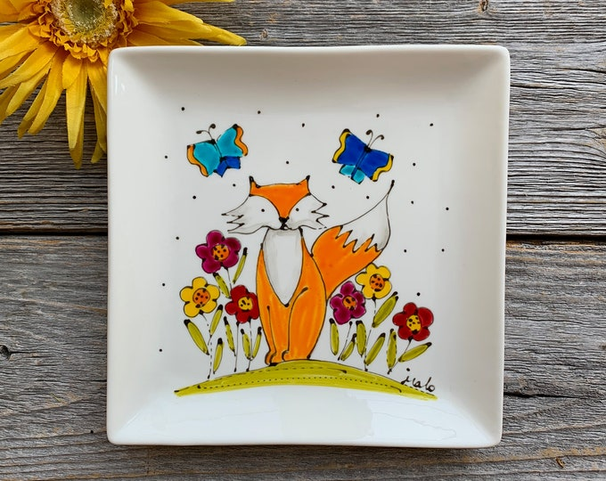 Fox plate, butterfly, flowers, Square porcelain plate, jewel tray, Fox lover, unique gift, Hand painted plate