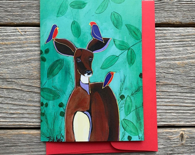 "Greeting card, deer, 3 blue and red bird, 5"" x 7"", by artist Isabelle Malo"