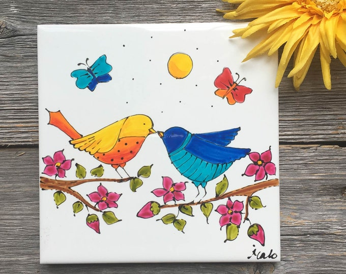 Featured listing image: Ceramic tile, hand painted, Birds, square trivet, Bird gift, house decoration ceramic, bird gift ceramic tile, bird lover gift