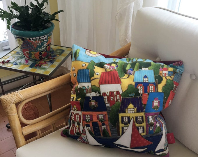 Pillow case square decorative, 18 x 18, Velveteen fabric, Colourful houses, Sailboat, zipper