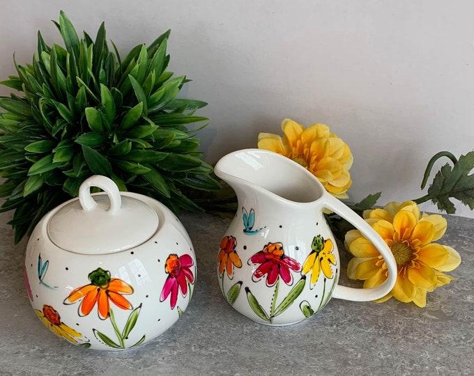 Set of Creamer and sugar bowl Porcelain, yellow, pink, orange flowers, sugar jar, Unique gift, Hand painted
