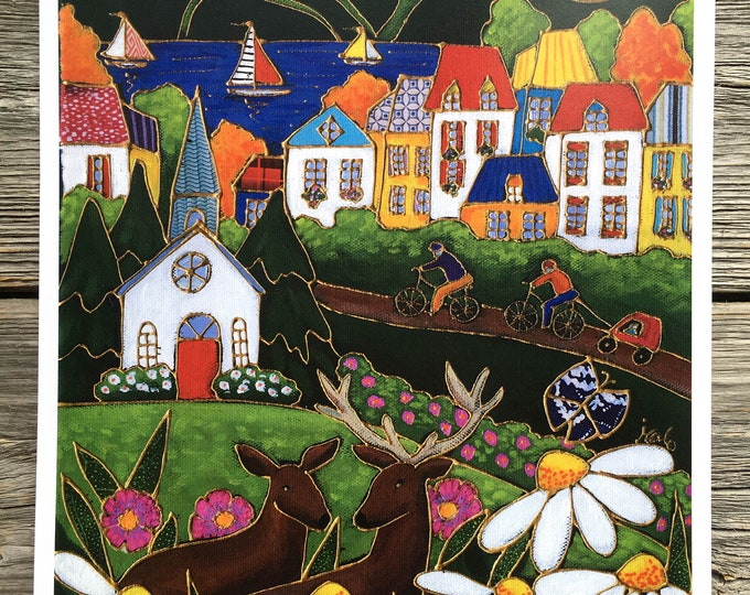 Art print, Country village, Ski Village, deer, colourful house, sailboat, flowers, Wall art, Unique design gift, wall Art decoration