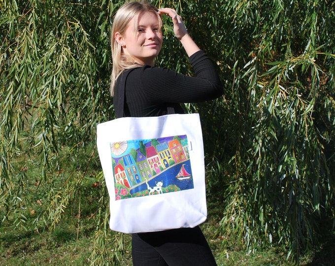 Tote bag, colourful houses and cat pocket, Canvas bag, shopping bag, Eco friendly bag, Colourful houses lover gift bag, cat lover