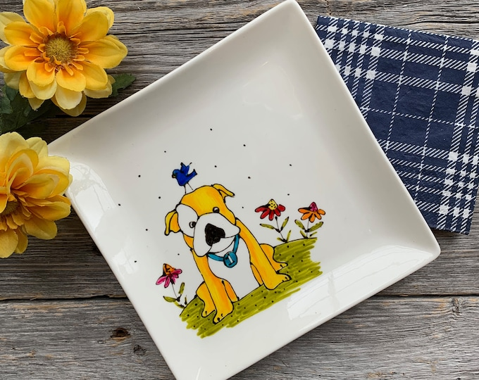 Bulldog baby, Dog plate, Square porcelain plate, dessert plate, kitchen dog lover, unique gift, Hand painted