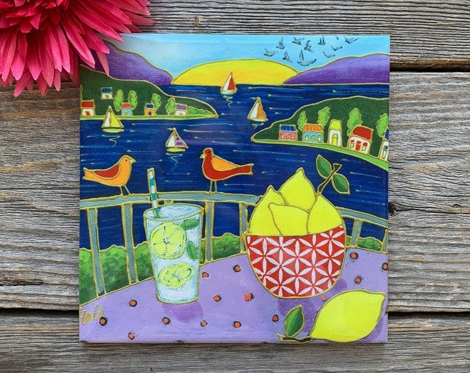 """Ceramic tile, 6"""" x 6"""", Lemon and Lemonade, sea Landscape, sail boat, houses, sun, birds, decoration, square trivet, Art by Isabelle Malo"""