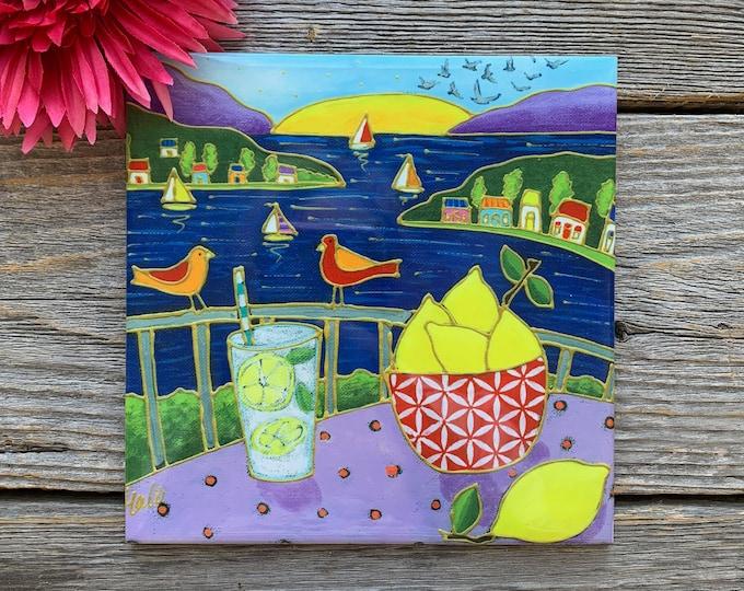 Ceramic tile trivet landscape sailboat lemon art print ceramic