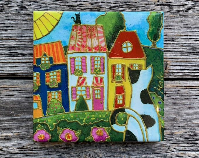 Art print Coaster, Cat, Colourful houses, Ceramic tile, square trivet, Art print coaster, colourful landscape