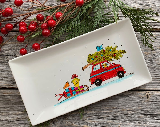 Small rectangle porcelain plate, Red car with Christmas tree, sleigh with gift, cat, birds, unique Christmas gift, Hand painted