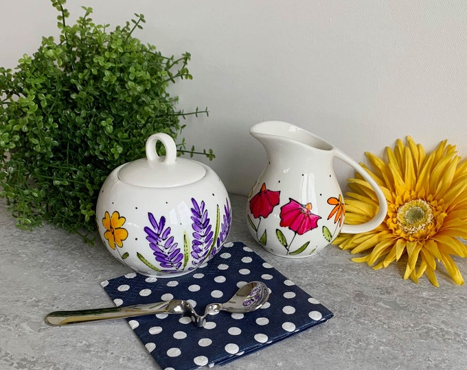 Set of creamer and sugar porcelain bowl hand painted wildflowers