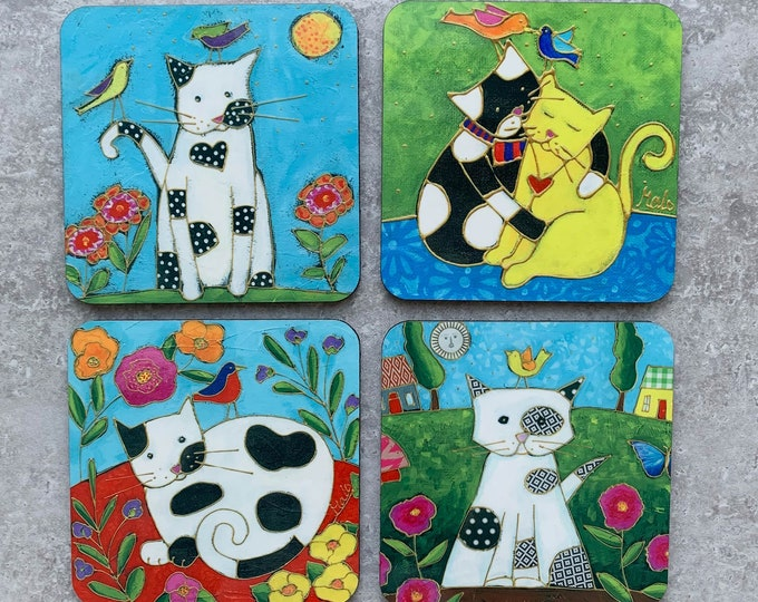 """Cat Coasters, Set of Coasters 4"""", Cats,  coaster table, Home decor, kitchen gift"""