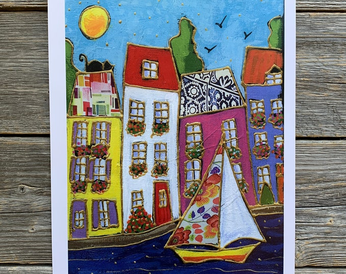 Art print, Colourful houses, Sailboat, Wall art, home decoration, Unique design gift, wall Art decoration