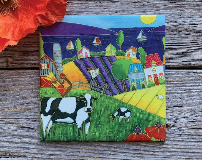 Ceramic tile trivet landscape cow