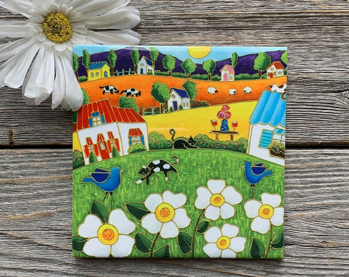 Ceramic tile trivet landscape white flower