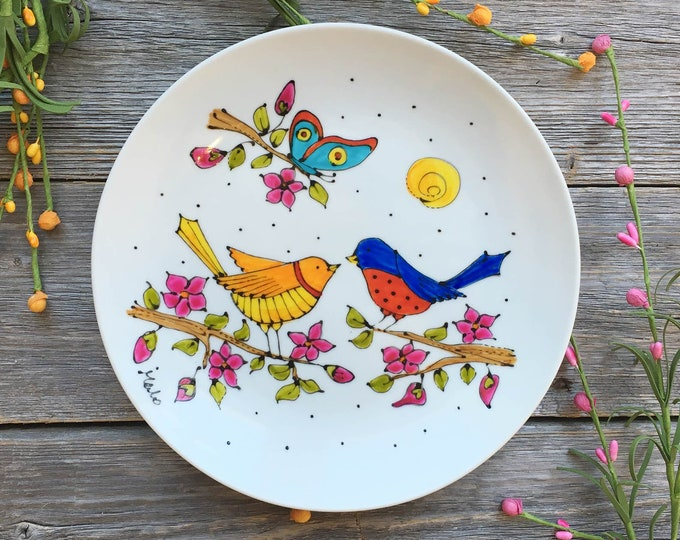 Featured listing image: bird porcelain plate, wall decoration plate, bird serving plate, Hand painted plate, bird lover gift, gift for kitchen, serving plate bird