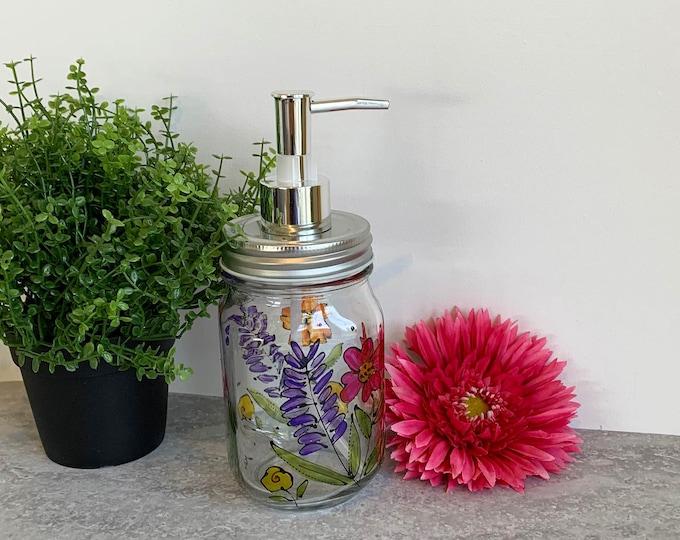 Soap dispenser glass mason jar lavender orange red pink flower hand painted