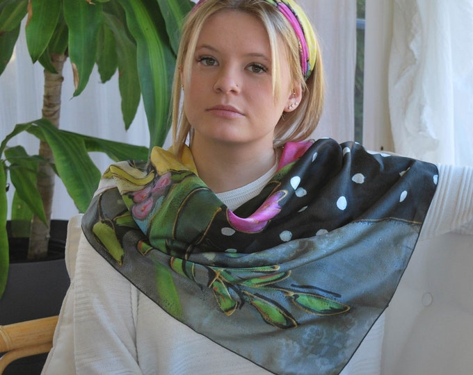 Habotai 100% SILK square scarf, Woman, Yellow, white and pink flowers, green leaf, grey background, gift for her, Art print scarf
