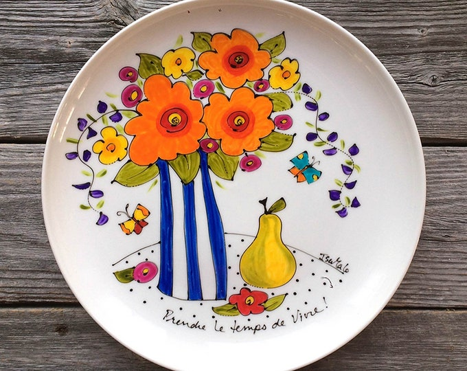 Serving plate, flowers vase, orange flowers, pear, Unique gift, Hand painted by isamalo