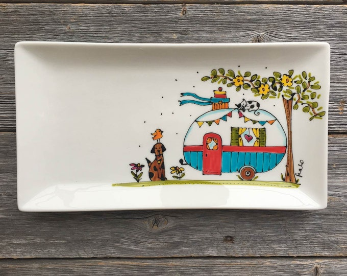 Serving plate Camper trailer Plate, ceramic plate tray, RV trailer tray, mini van gift, Hand painted, camping gift