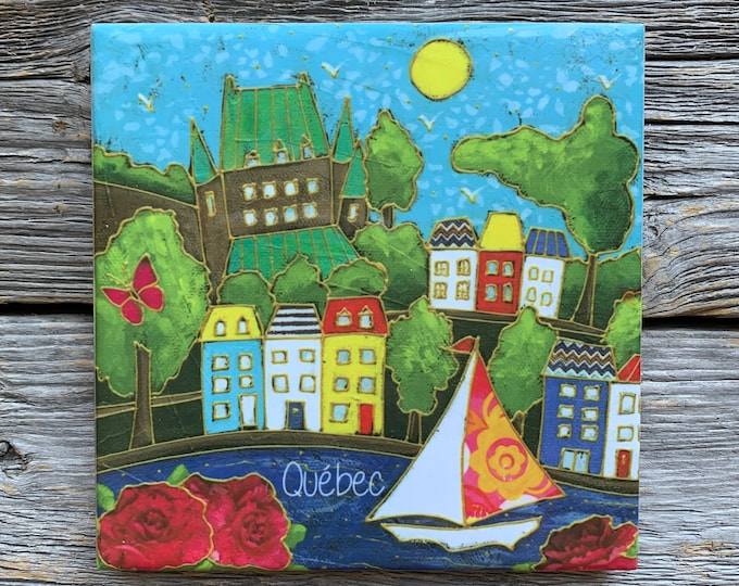 Art print Coaster, Quebec Castle, sailboat, Colourful houses, Ceramic tile, square trivet, Art print coaster