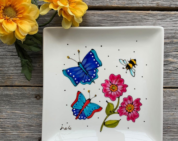 Blue Butterfly plate, Square porcelain plate, 2 blue butterfly, bee, pink flowers, dessert plate, jewel tray, unique gift, Hand painted
