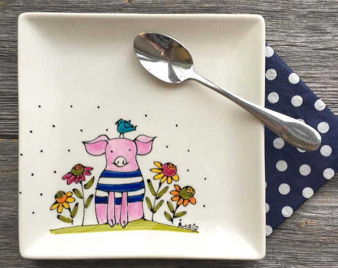 Featured listing image: Pink Pig Square porcelain plate, dessert plate, kitchen pig lover, unique gift, Hand painted by isamlo