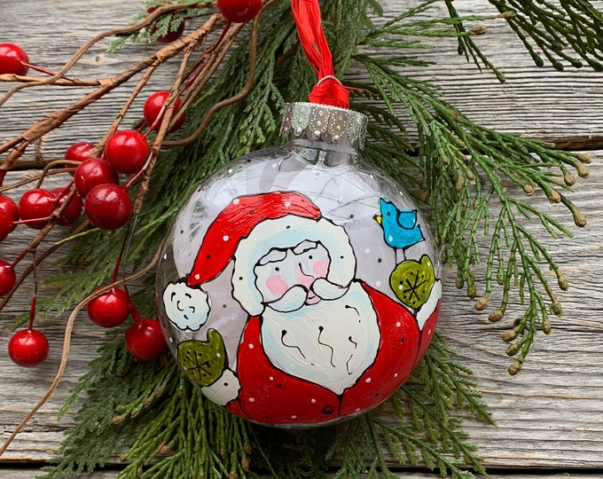 Hand paint, Christmas ball ornement, Santa Claus and blue bird , Christmas ball, One of a kind, Christmas tree gift