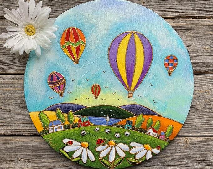 Original acrylic painting on canvas hot air balloon landscape