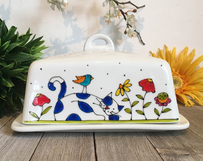 Featured listing image: Cat Butter dish porcelain with lid, Cat lover gift, hand painted, kitchen gift with cat