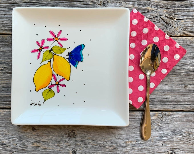 Square porcelain plate hand painted lemon blue butterfly pink flower serving tray