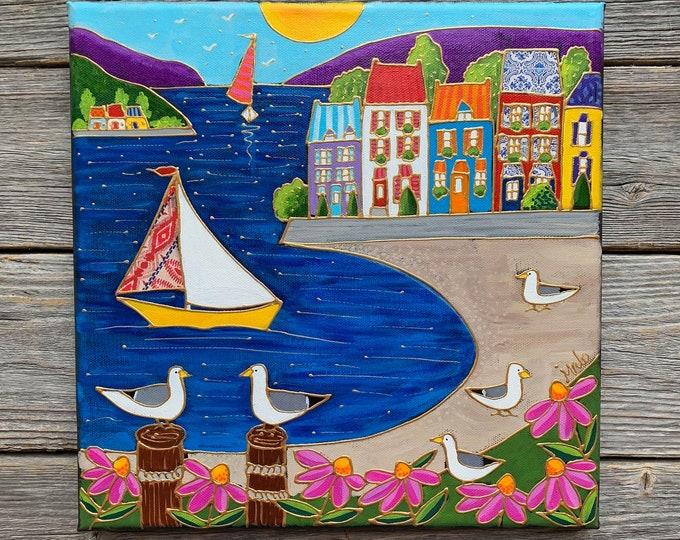 Original acrylic painting on canvas landscape sea sailboat colourful houses