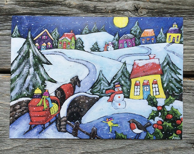 "Greeting card - winter scene - carriage - 5"" x 7"" - by artist Isabelle Malo"