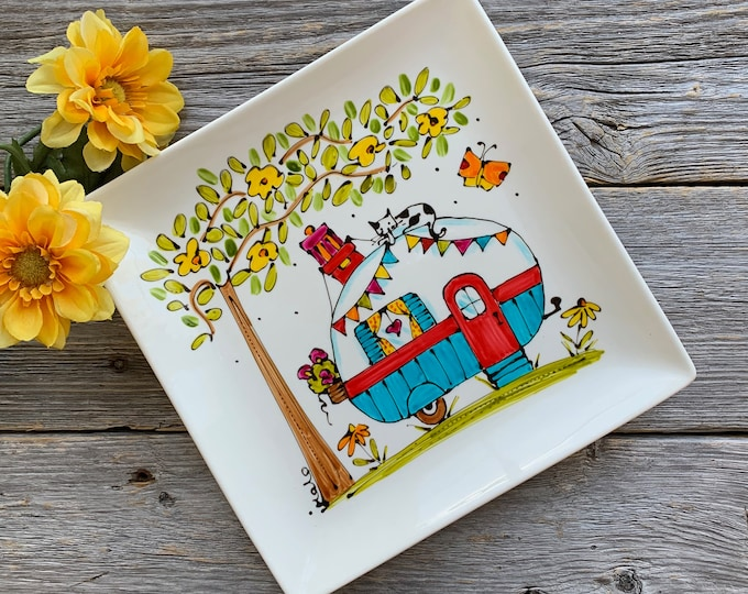 Square porcelain plate camping car hand painted