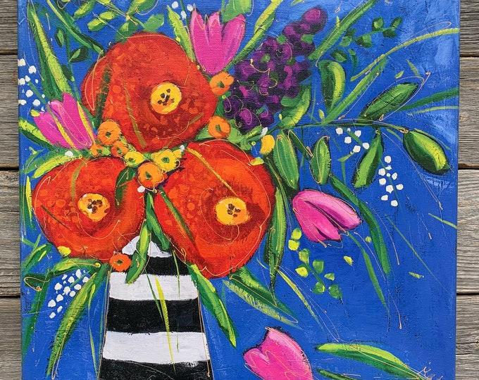 Giclee art canvas print red flower black and white vase blue background