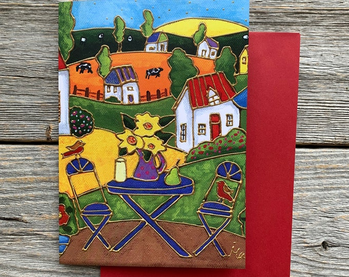 Greeting card, Colourful landscape country, bistro table, Sunflowers, gift wishing card, birthday card, colourful gift card