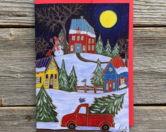 "Greeting card,  red truck, christmas tree, winter scene, 5"" x 7"", by artist Isabelle Malo"