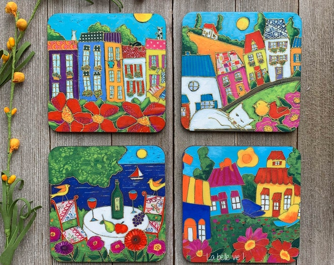 Coasters, Set of Coasters, Countryside Landscape, colourful houses, table with glass of wine, cat, gift coaster kitchen