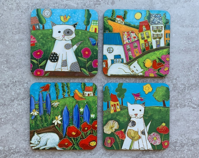 "Cat Coasters, Set of Coasters 4"", Cats,  colourful houses, coaster table, Home decor, kitchen gift"