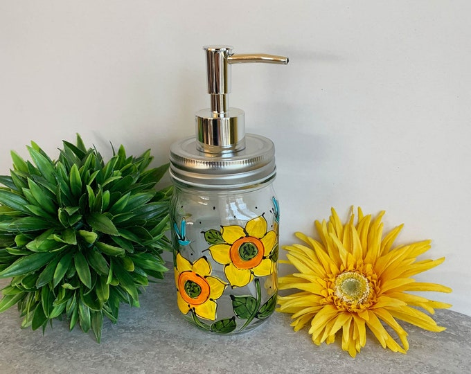 Soap dispenser glass mason jar sunflower hand painted