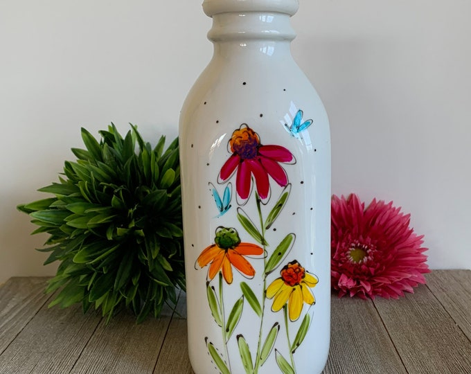 Vintage-style Porcelain Milk bottle with cover, colourful flowers, Hand painted bottle