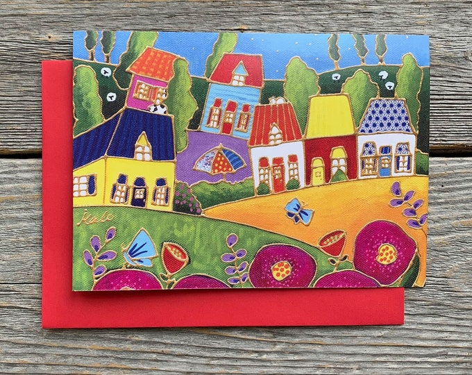 Greeting card landscape colourful houses