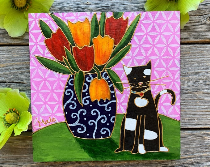 Original acrylic painting on wood frame, Black and white Cat, flower vase, red and orange tulip, pink background, hand paint