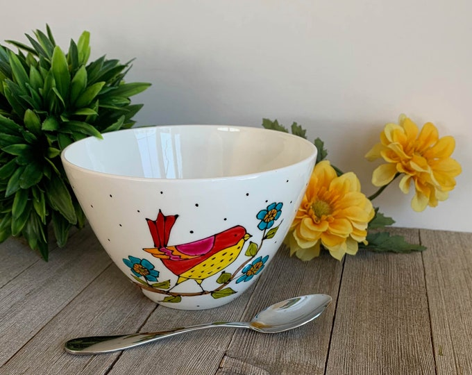 Cereal bowl, rice bowl, yellow and red bird, blue Flowers, Porcelain, Unique gift, Hand painted by isamalo