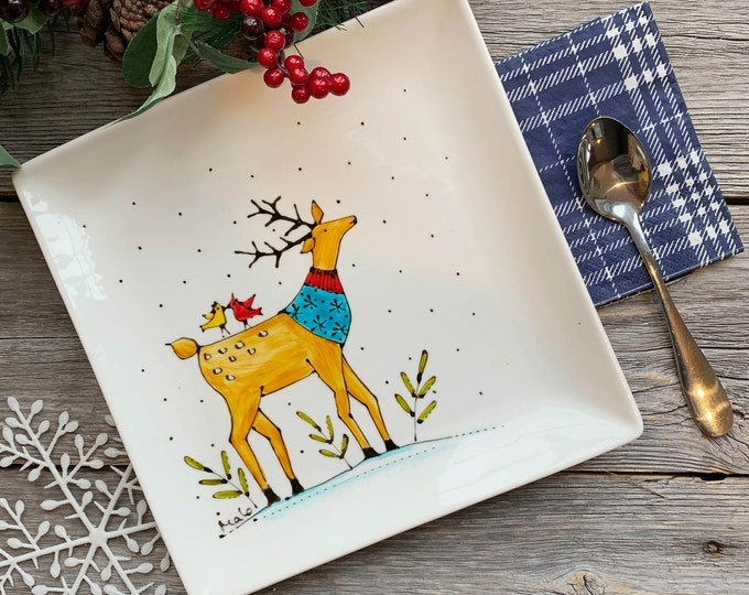 Christmas deer, bird, Square porcelain plate, unique gift, Christmas gift, Hand painted