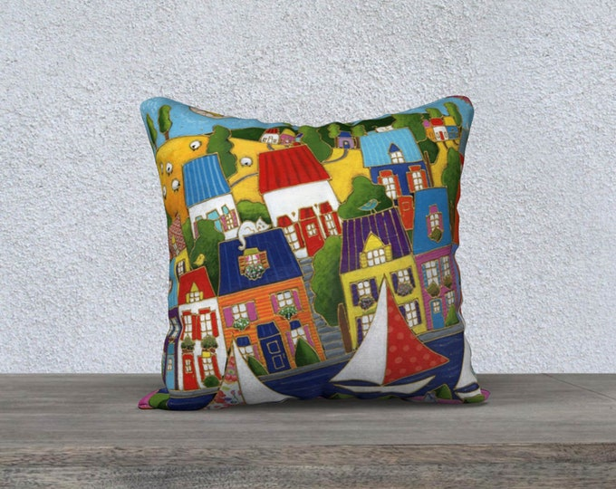 Featured listing image: Pillow case square decorative, 18 x 18, Velveteen fabric, Colourful houses, Sailboat, zipper