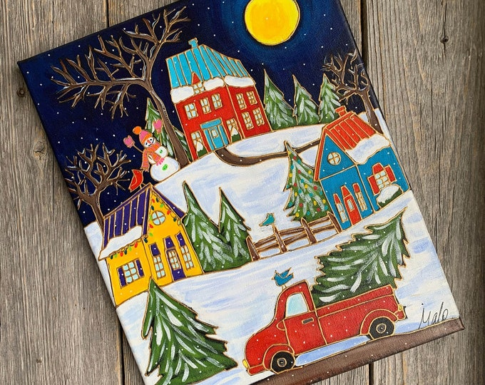 Featured listing image: Original acrylic painting on canvas, Red Pickup with Christmas tree, Winter scene painting, home decor by artist Isabelle Malo