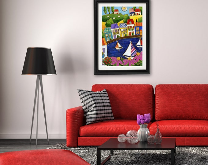 Art print, 11 x 17, Colourful houses, Sailboat, pink flower, Wall art, home decoration, Unique design gift, wall Art decoration