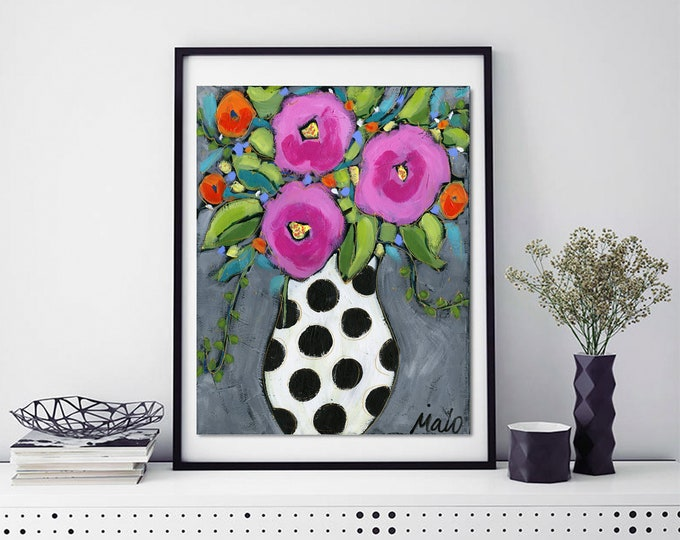 Art print, white flowers vase with black dots, pink flowers, grey background, Wall art, home decoration, wall Art decoration
