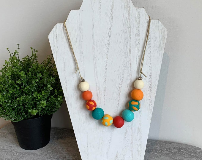 Polymer bead necklace orange red turquoise wood hand made
