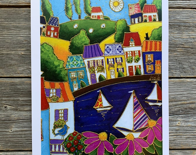 Art print, Colourful houses, Sailboat, pink flowers, Wall art, home decoration, Unique design gift, wall Art decoration